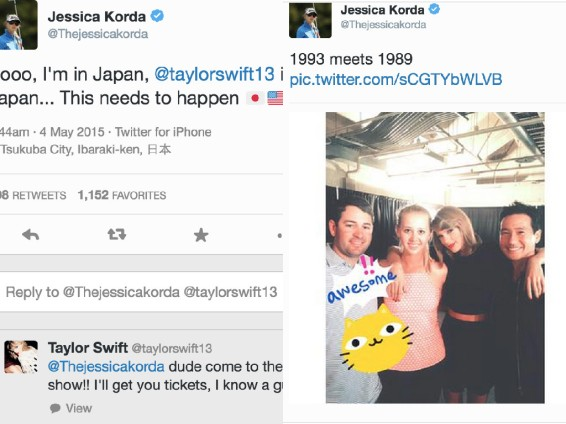 Jessica Korda with Taylor Swift