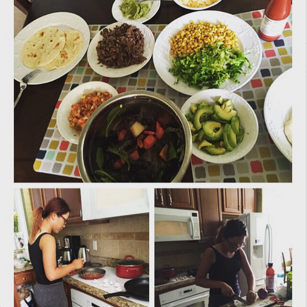Lydia Ko making mexican dinner.