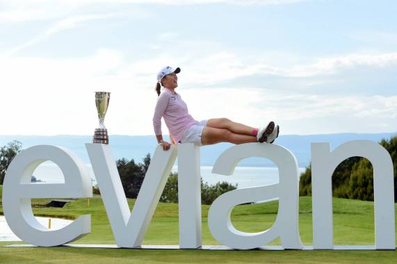 Lydia posing after her win with the Evian Championship trophy. Photo Credit: Evian Championship