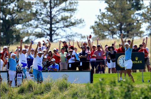 Anna Nordqvist reacts to her historic hole-in-one at the 2013 Solheim Cup.